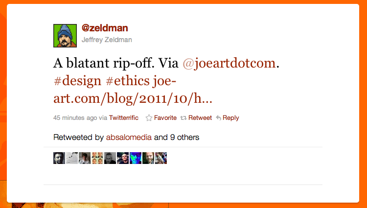 A tweet by Jeffrey Zeldman