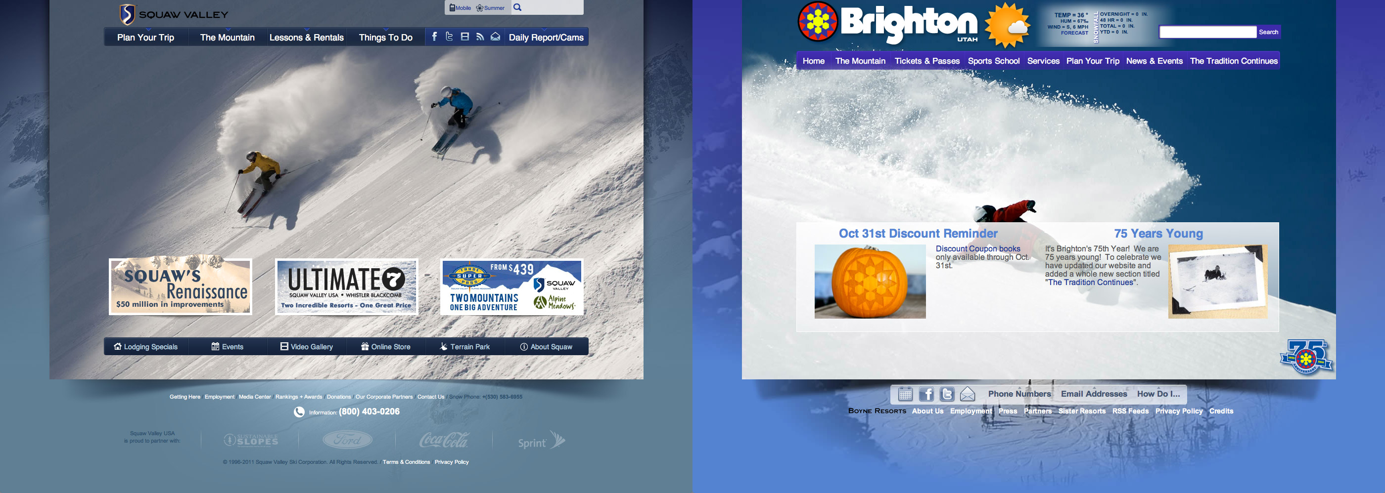My 2010 design for Squaw Valley's website, next to the recently launched Brighton website.